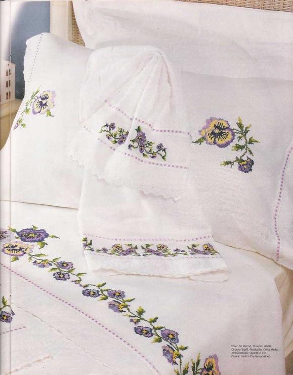 Белая гладь вышивка для постельного белья