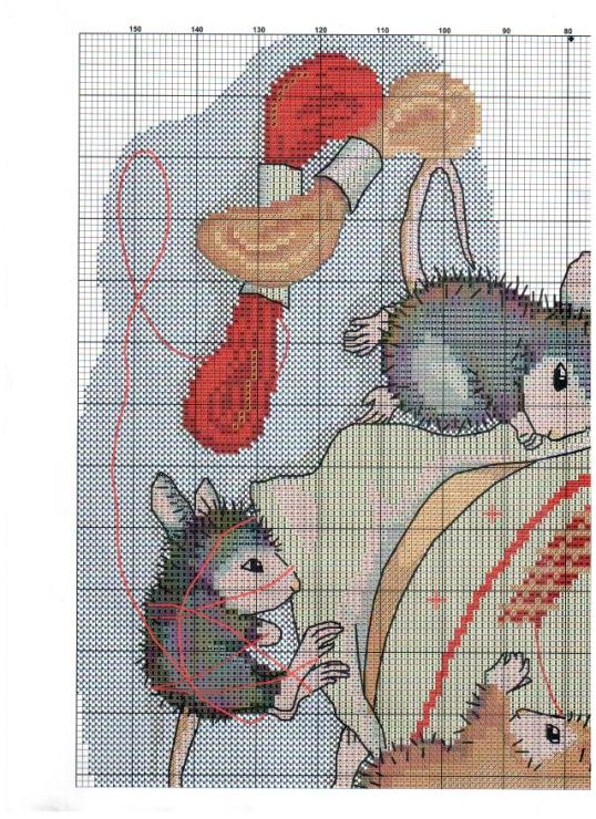 Схема вышивки мышки-рукодельницы